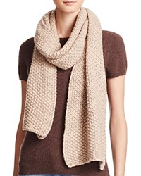 Bloomingdale's C By Popcorn Knit Scarf Oatmeal