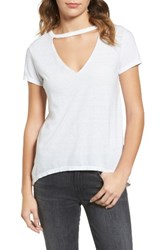 Pam And Gela Women's Cutout V Neck Tee White