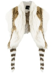 Andrea Bogosian Rabbit And Fox Fur Stole White