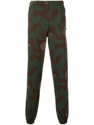 Off White Camouflage Print Track Pants Green