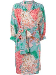 Christian Dior Vintage Floral Print Wrap Dress Multicolour