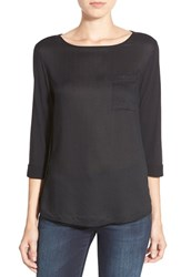 Petite Women's Caslon Knit And Woven Boatneck Tee Black