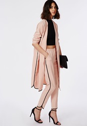 Missguided Dolphin Hem Cropped Trousers Dusky Pink Pink