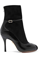 Charlotte Olympia Incognito Suede And Leather Ankle Boots Black