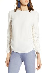 Halogen Cinched Sleeve Blouse Ivory Cloud