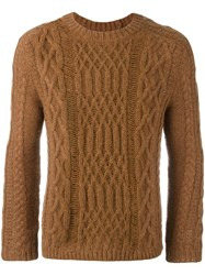 Maison Martin Margiela Distressed Effect Cable Knit Sweater Brown