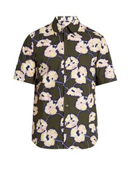 Marni Floral Print Short Sleeved Cotton Shirt Khaki Multi