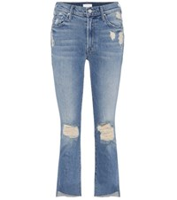 Mother The Insider Crop Fray Distressed Jeans Blue