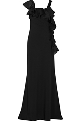 Mikael Aghal Ruffle Trimmed Stretch Jersey Gown Black
