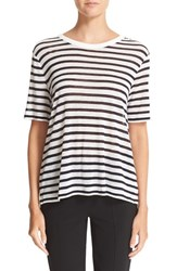 Alexander Wang Women's T By Stripe Rayon And Linen Tee
