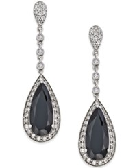 Macy's Onyx 7X16mm And Swarovski Zirconia Drop Earrings In Sterling Silver Black