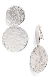 Karine Sultan Women's Aimee Large Disc Clip Earrings Silver