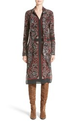 Belstaff Women's Luella Print Silk Tie Neck Dress Black
