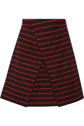 Proenza Schouler Wrap Effect Striped Cotton And Wool Blend Jacquard Mini Skirt Black