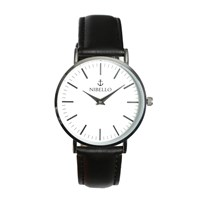 Nibello Watches Silver And White Mens Watch With Black Strap