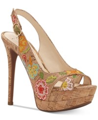 Jessica Simpson Willey Slingback Platform Dress Sandals Women's Shoes Natural Multi Embroidery
