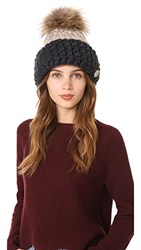 Mischa Lampert Fold Beanie Hat Taupe Dark Grey Natural