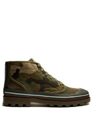 Valentino Camouflage Print Canvas Boots Green Multi