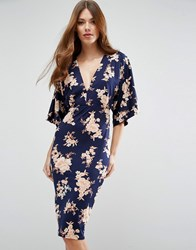 Asos Kimono Orange Sketchy Floral Midi Dress Multi