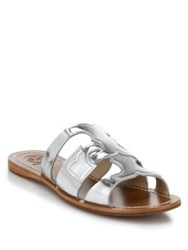 Tory Burch Anchor Metallic Leather Slide Sandals Silver