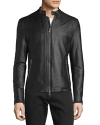 John Varvatos Textured Zip Moto Jacket Black Women's
