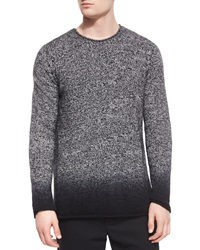Vince Cashmere Marled Dip Dyed Crewneck Sweater Black