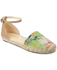 Ivanka Trump Vailea Two Piece Espadrille Flats Women's Shoes Floral Nude