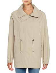 Bernardo Hooded Drawstring Anorak Jacket Beige