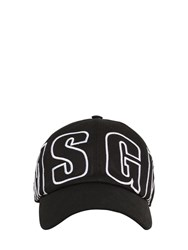 Msgm Logo Embroidered Cotton Baseball Hat Black