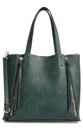 Chelsea 28 Chelsea28 Leigh Convertible Zipper Faux Leather Tote Green Green Wood