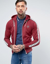 Fred Perry Sports Authentic Hooded Track Jacket In Red Maroon