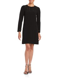 Adrianna Papell Plus Ladder Cutout Long Sleeve A Line Dress Black