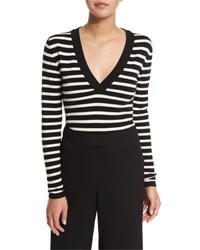 Veronica Beard Decade Striped V Neck Bodysuit Black Ivory Black Ivory