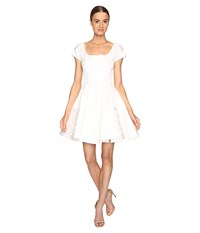 Zac Posen Party Jacquard Short Sleeve Fit And Flare Dress White