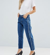 Missguided Petite Fray Detail Straight Leg Jean Indigo Blue