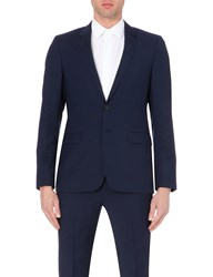 Sandro Wool And Mohair Blend Suit Jacket Blue