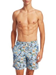 Saks Fifth Avenue Collection Passport Travel Swim Trunks Blue