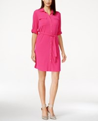 Calvin Klein Tie Belt Collared Shirt Dress