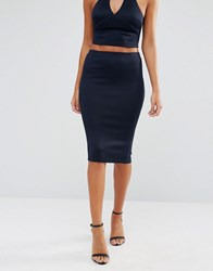 Ax Paris Pencil Skirt With Split Back Navy