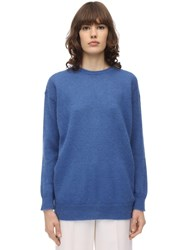 Max Mara Mohair Blend Knit Sweater Blue