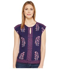 Lucky Brand Wood Block Floral Top Navy Multi Women's Clothing Blue