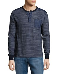 Lucky Brand Surf Long Sleeve Henley Shirt Indigo