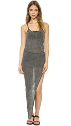 Pam And Gela Wrap Rouched Dress Charcoal