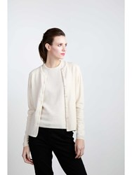 Johnstons Of Elgin Cashmere High Button Cardigan Neutral