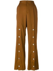 Y Project Studded Detail Tailored Trousers Women Cotton Wool M Brown