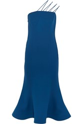Vika Gazinskaya Silk Crepe Dress Blue