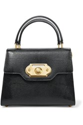 Dolce And Gabbana Welcome Medium Lizard Effect Leather Tote Black