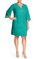 Plus Size Women's London Times Lace Up Neck Chevron Mesh Shift Dress Aqua