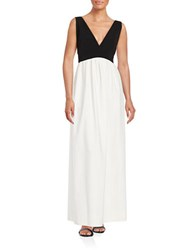 Jill Stuart V Neck Colorblock Dress Off White Black