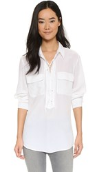 Equipment Knox Laced Henley Top Bright White